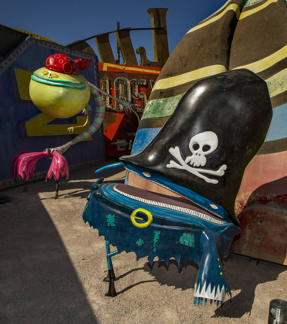"Art pieces ""Pirates"" by Tim Burton in his Lost Vegas art exhibition at the Neon Museu ..."