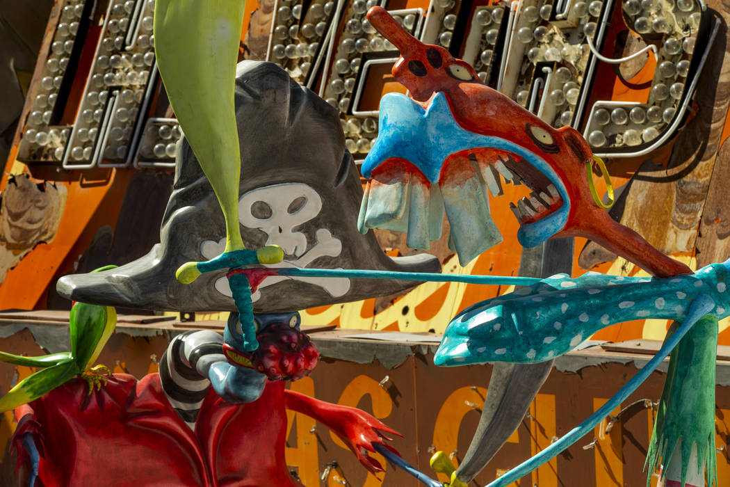 """Art pieces """"Pirates"""" by Tim Burton in his Lost Vegas art exhibition at the Neon Museu ..."""