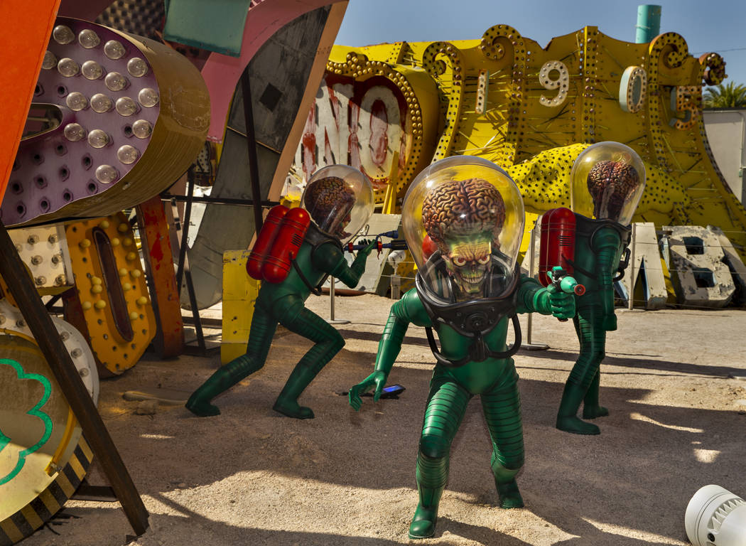 """Art piece """"Martians"""" by Tim Burton in his Lost Vegas art exhibition at the Neon Museu ..."""