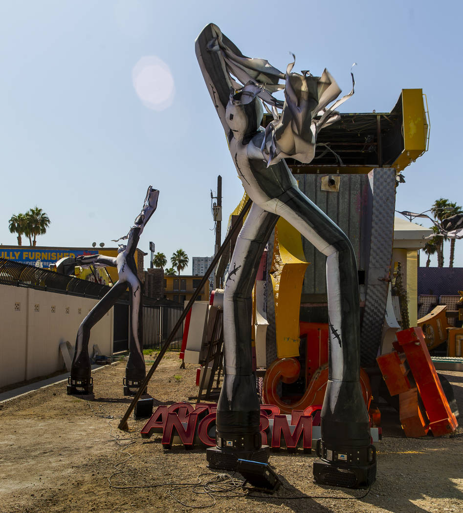 Art Dancers piece by Tim Burton in his Lost Vegas art exhibition at the Neon Museum on Monday, ...