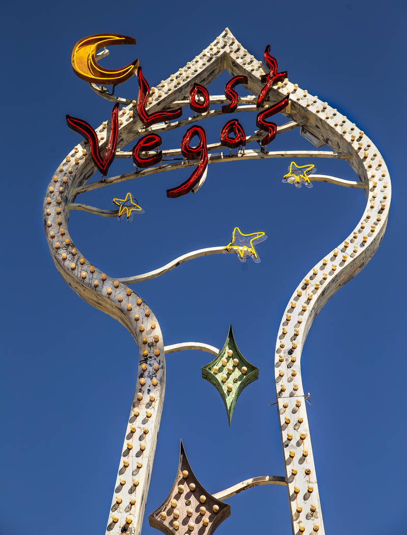 Art pieces by Tim Burton in his Lost Vegas art exhibition at the Neon Museum on Monday, Oct. 14 ...