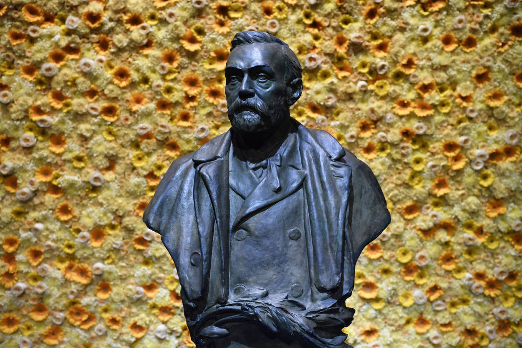 In a Monday, Dec. 10, 2018, file photo, a bust of the Nobel Prize founder, Alfred Nobel on disp ...
