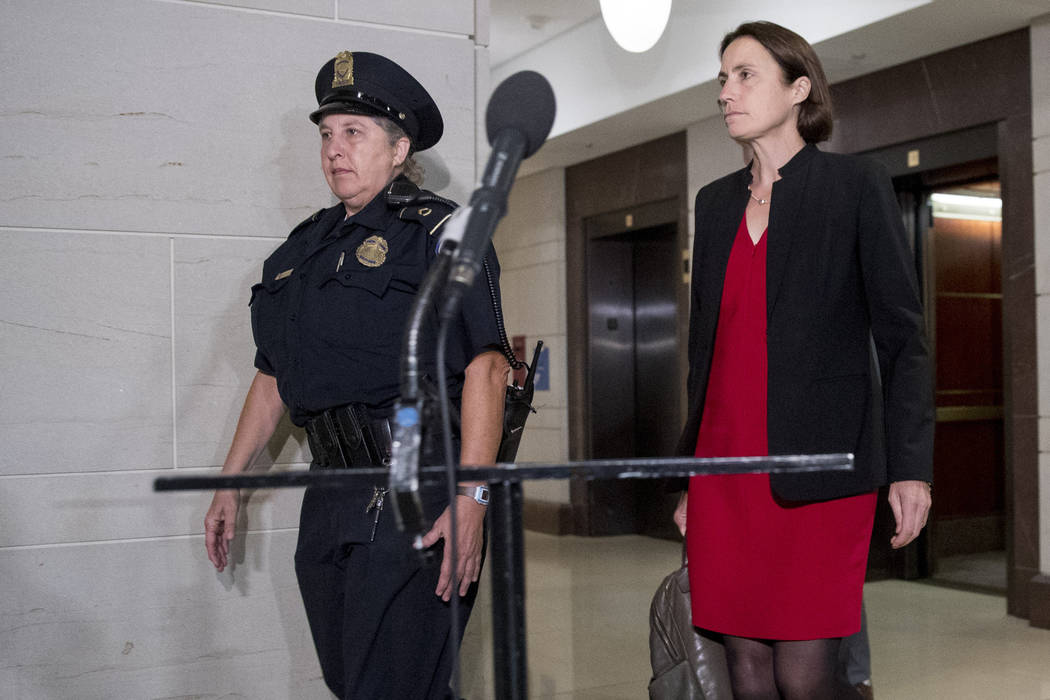 Former White House advisor on Russia, Fiona Hill, arrives on Capitol Hill in Washington, Monday ...