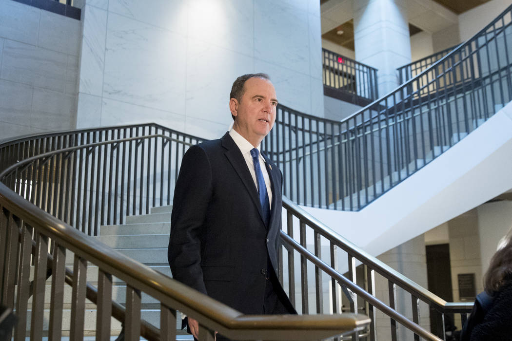 House Intelligence Committee Chairman Rep. Adam Schiff, of Calif., arrives on Capitol Hill in W ...