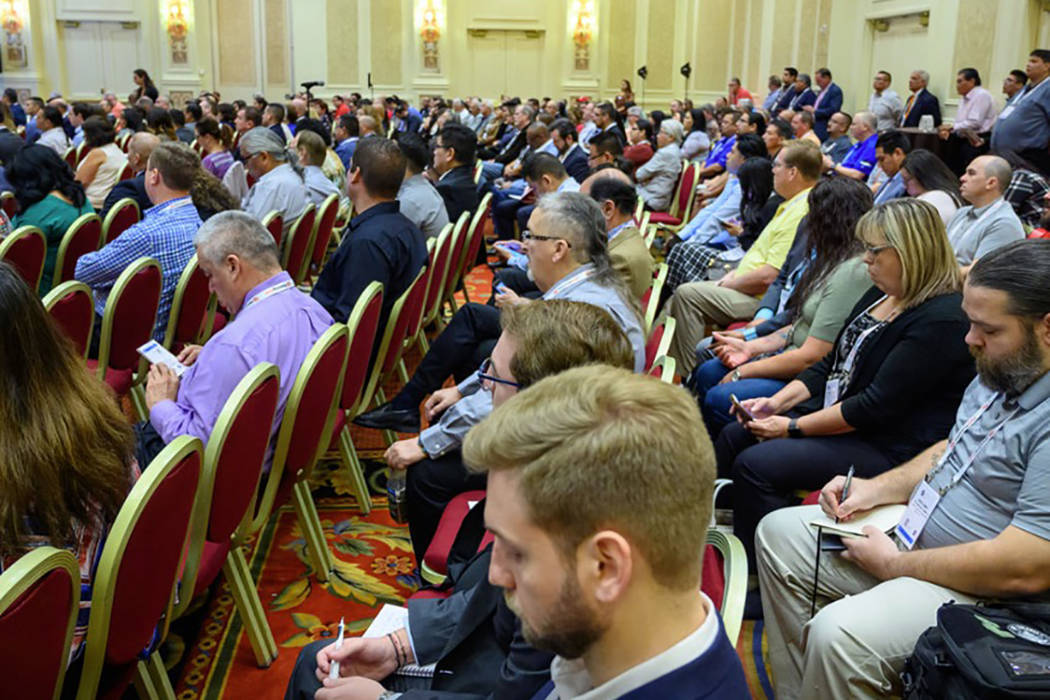 Attendees take in a session on Monday, Oct. 14, 2019, at the Global Gaming Expo at The Venetian ...