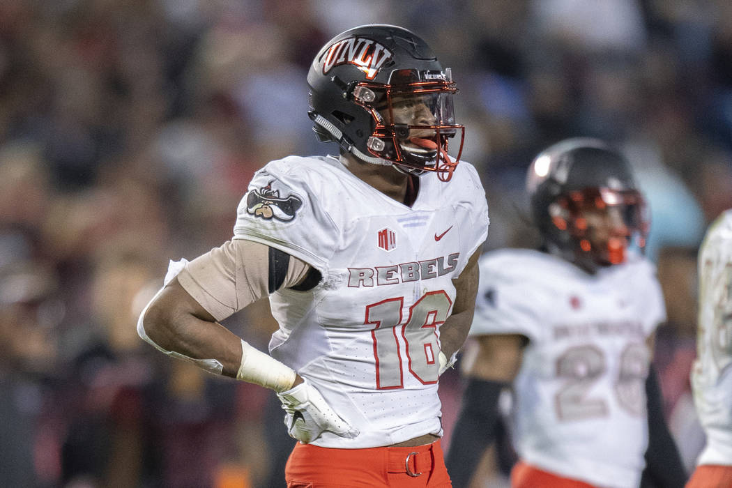 UNLV Rebels linebacker Javin White (16) during a NCAA football game between the UNLV Rebels and ...