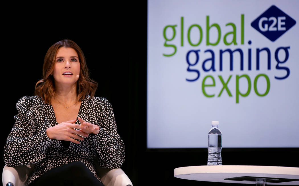 Retired race car driver Danica Patrick speaks at 2019 Global Gaming Expo at the Sands Expo and ...