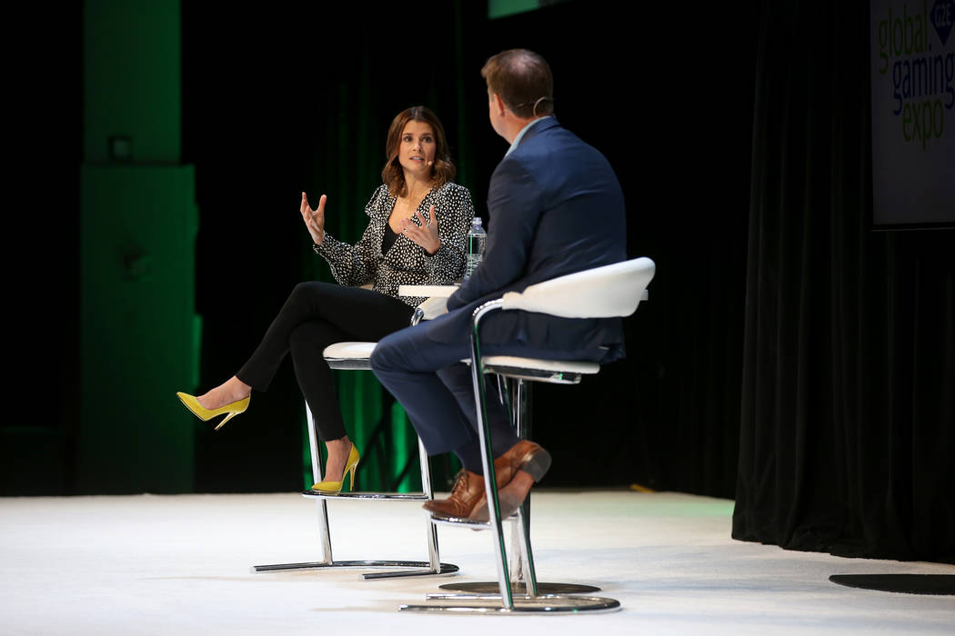 Retired race car driver Danica Patrick is interviewed by Bo Bernhard, professor and executive d ...
