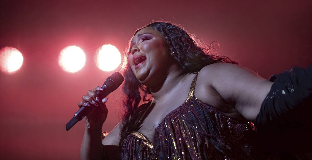 Singer/songwriter Lizzo performs on stage at The Anthem on Wednesday, Sept. 25, 2019, in Washin ...