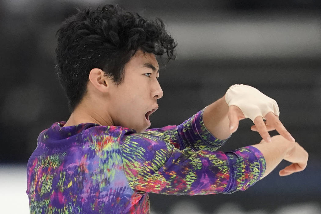 Nathan Chen of the United States performs his men's free skating routine during Japan Open figu ...