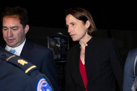Former White House advisor on Russia, Fiona Hill, leaves Capitol Hill in Washington, Monday, Oc ...