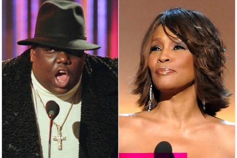 This combination photo shows Notorious B.I.G., who won rap artist and rap single of the year, d ...