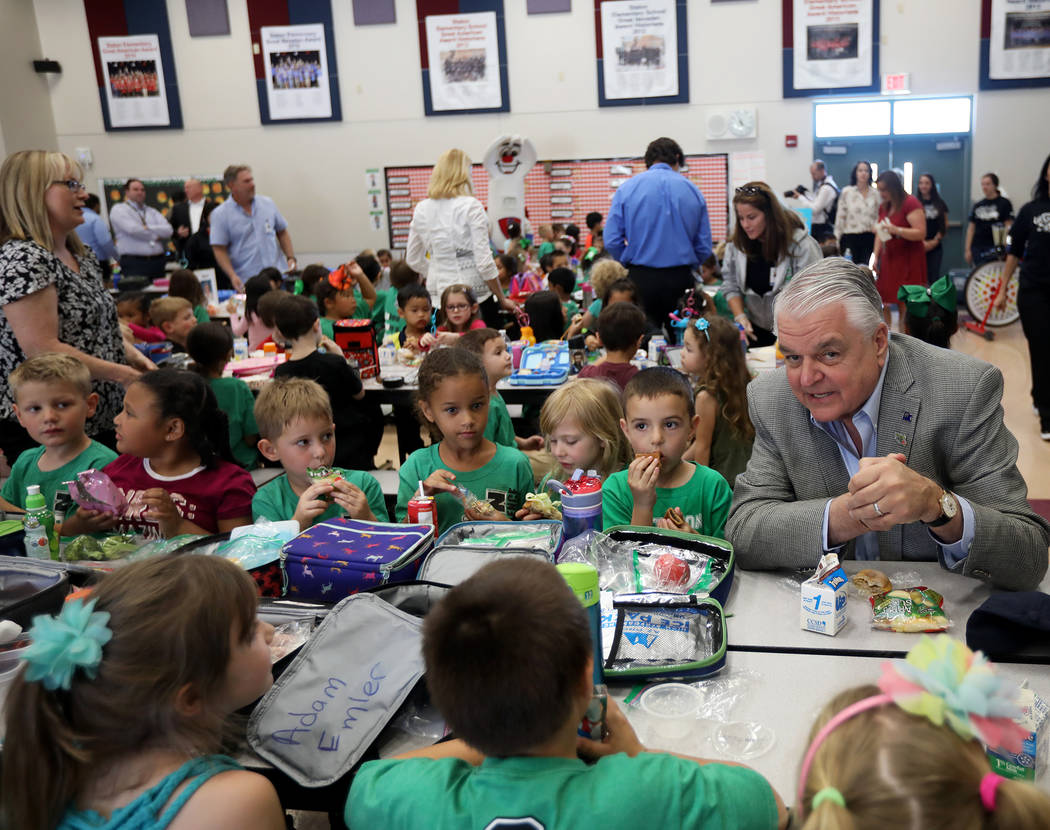 Gov. Steve Sisolak has lunch with students at Staton Elementary School in Las Vegas, Tuesday, O ...