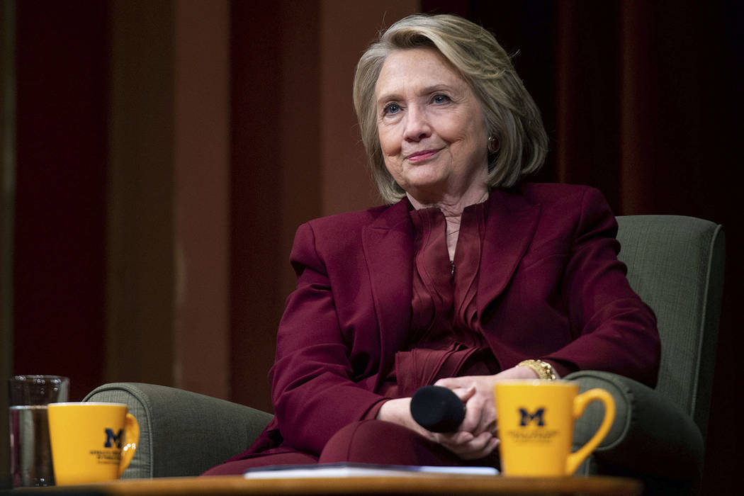 Hillary Clinton lectures on foreign policy at Rackham Auditorium, Thursday, Oct. 10, 2019 in An ...