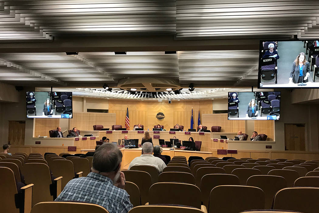 Henderson City Council chambers on Tuesday, Oct. 15, 2019. (Blake Apgar / Las Vegas Review-Journal)
