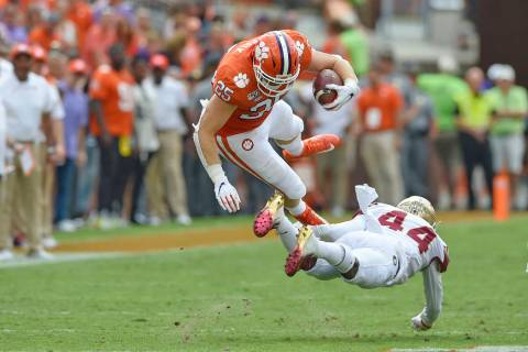 Clemson's J.C. Chalk (25) is upended by Florida State's Brendan Gant during the first half of a ...