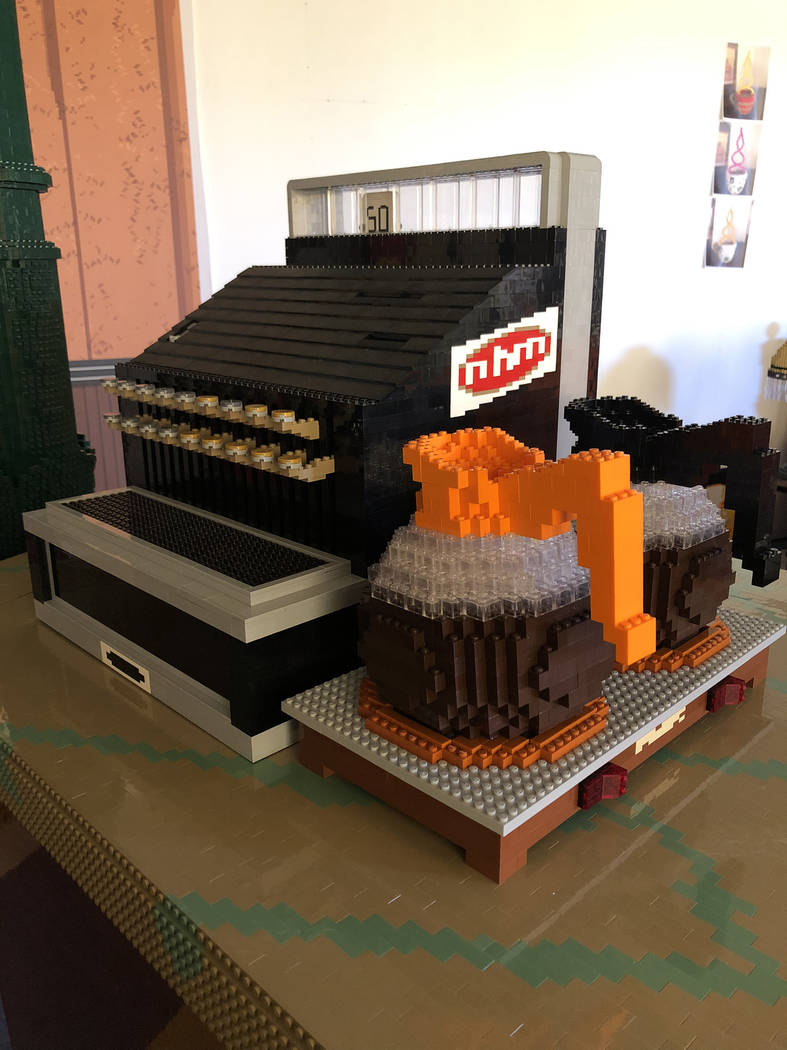 A full-size cash register and coffee pots are included in the Lego Central Perk. (Nathan Sawaya)