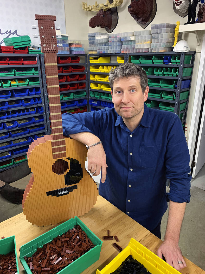 """Lego artist Nathan Sawaya builds Phoebe's guitar for his """"Friends"""" set, which will be dis ..."""