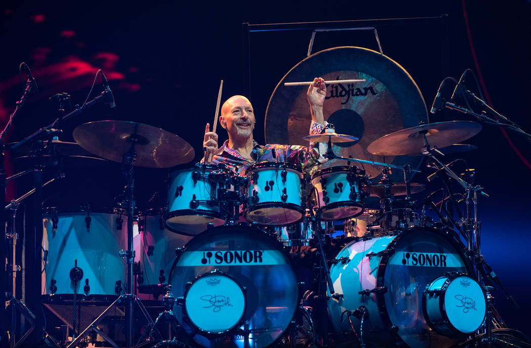 Steve Smith is shown on opening night of Journey's residency at the Colosseum at Caesars Palace ...