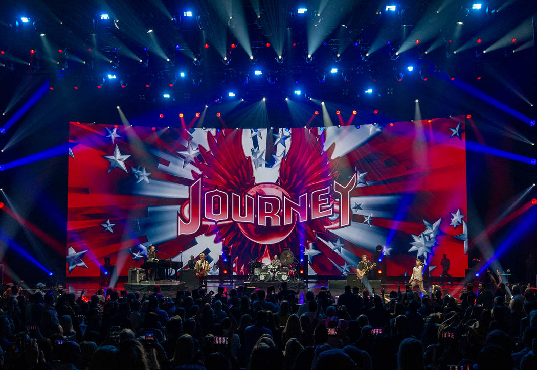 The Colosseum at Caesars Palace's new LED screen is shown on opening night of the band's reside ...