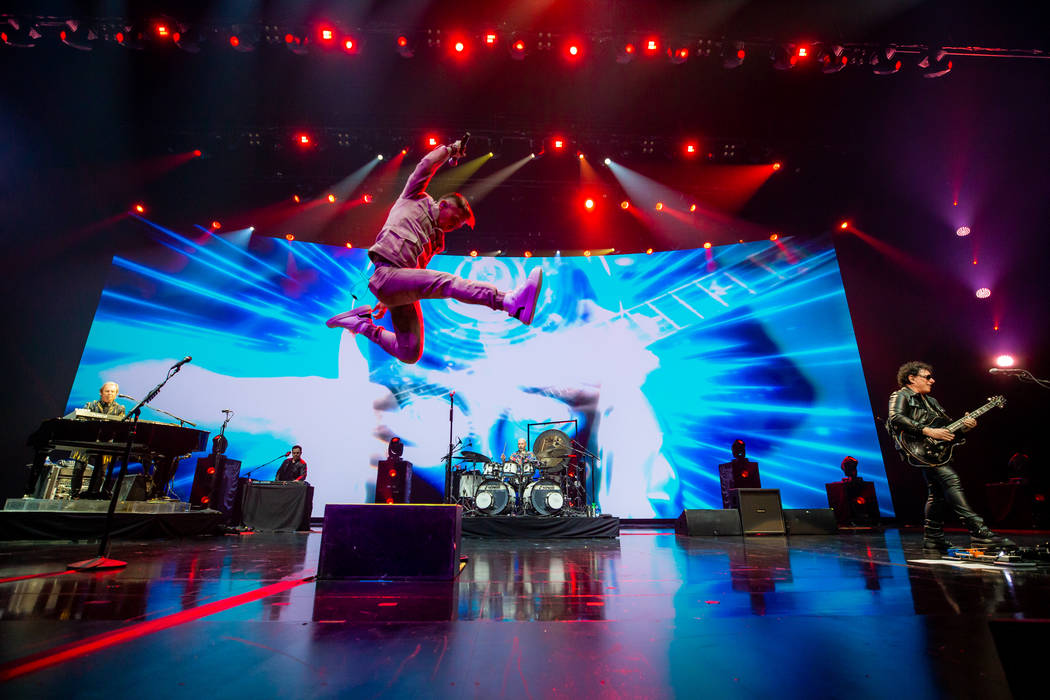 Arnel Pineda is shown on opening night of Journey's residency at the Colosseum at Caesars Palac ...