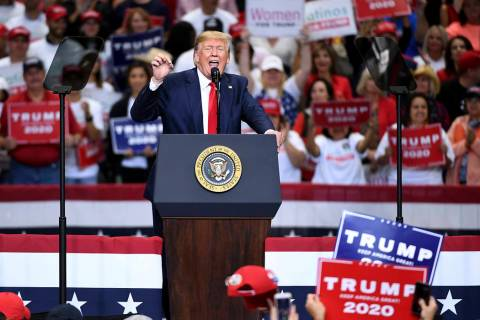 President Donald Trump speaks during a campaign rally, Thursday, Oct. 17, 2019, at the American ...