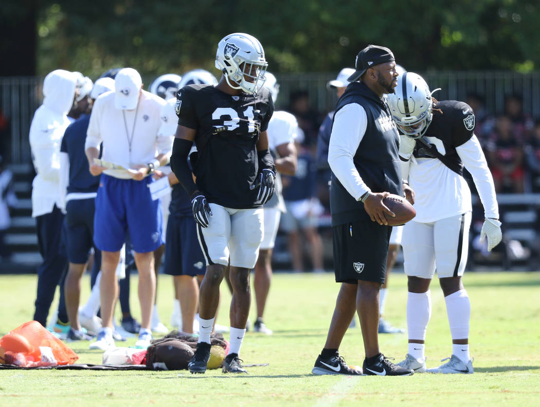 Oakland Raiders cornerback Isaiah Johnson (31) waits to drill during the NFL team's joint train ...