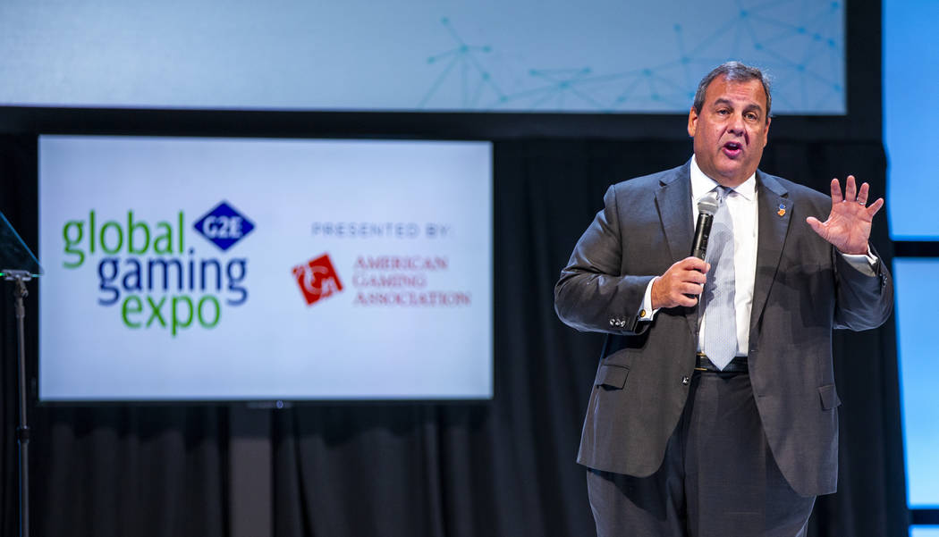 Former New Jersey Gov. Chris Christie gives a keynote address to attendees during the Global Ga ...