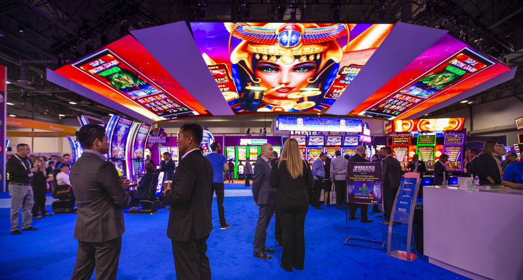 The massive IGT exhibition space during the Global Gaming Expo 2019 at the Sands Expo and Conve ...