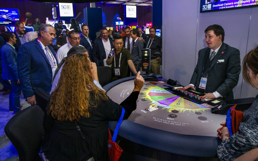 Images are projected and interactive on the table for the new Blazing 7s Blackjack with Cash Sp ...