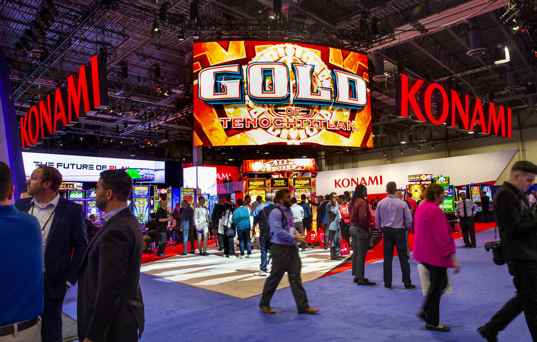 The Konami Gaming exhibition space during the Global Gaming Expo 2019 at the Sands Expo and Con ...