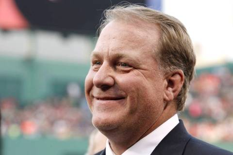 FILE - This Aug. 3, 2012, file photo, shows former Boston Red Sox pitcher Curt Schilling smilin ...