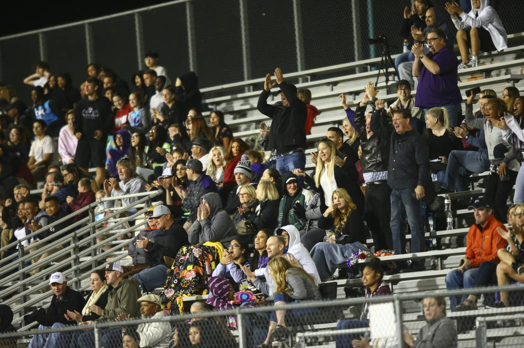 Silverado fans cheer after a touchdown against Clark during the second half of a football game ...