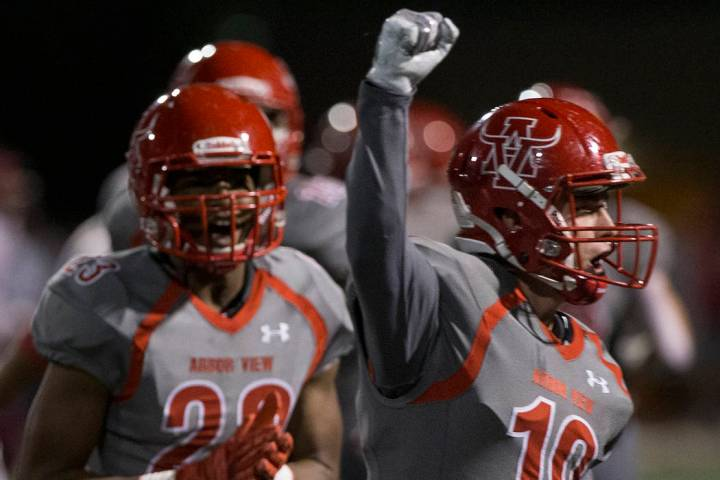 Arbor View senior defensive back Nolan Weir (19) celebrates with teammates after a big defensiv ...