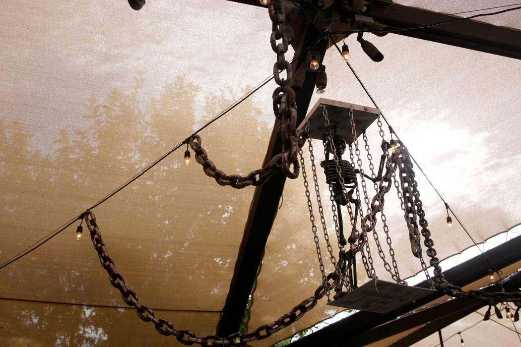 Decorations hang in he pirate cove, a candy pick up spot for the family friendly Haunted Harves ...