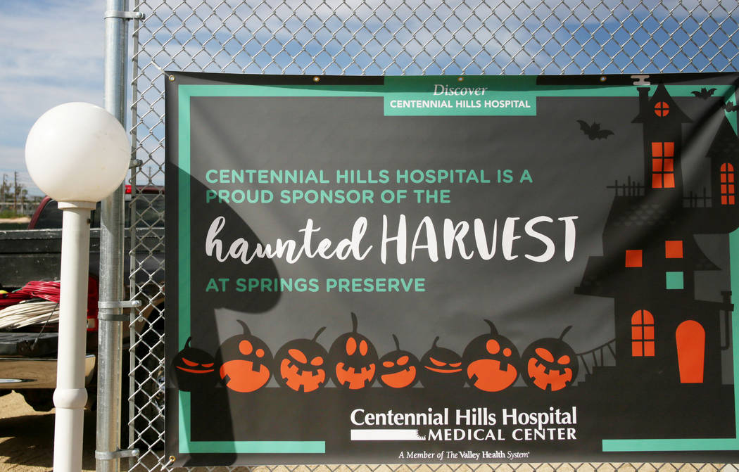 A sign welcoming individuals to the Haunted Harvest at the Springs Preserve in Las Vegas on Thu ...