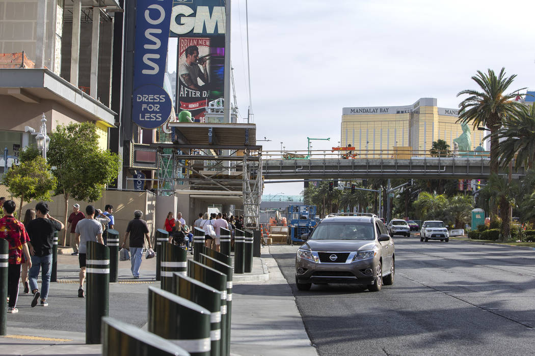 A pedestrian bridge is being constructed on Las Vegas Boulevard and Park Avenue on Wednesday, O ...