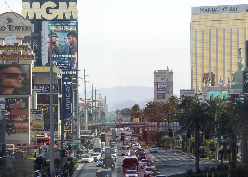 A pedestrian bridge is being constructed across Las Vegas Boulevard at Park Avenue on Wednesday ...