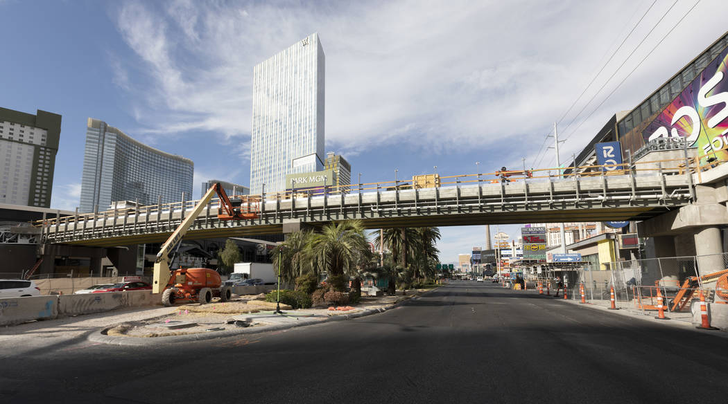 The intersection at Las Vegas Boulevard and Park Avenue has lane restrictions as a pedestrian b ...