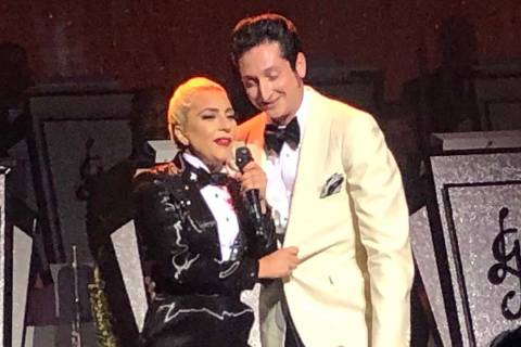 Lady Gaga and Brian Newman perform at Park Theater on Sunday, June 10, 2019. (John Katsilometes ...