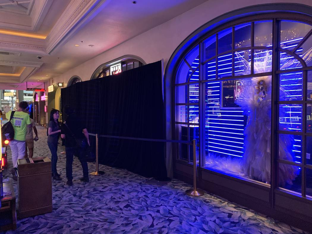 A look at the curtained-off entrance of Haus of Gaga as it is being updated at Park Theater at ...