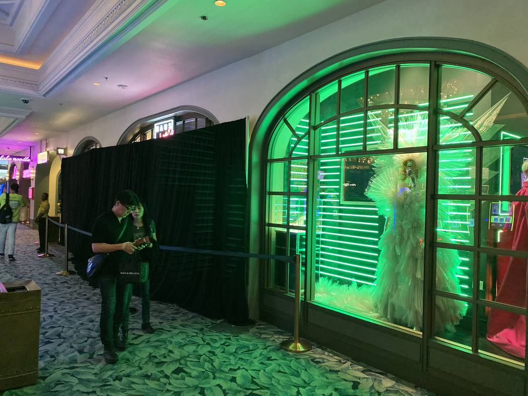 A look at a display case at Haus of Gaga as it is being updated at Park Theater at Park MGM on ...