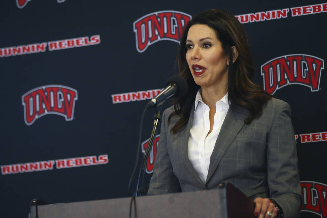 UNLV athletic director Desiree Reed-Francois said she needs to be convinced a move from an 18- ...