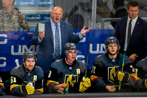 Vegas Golden Knights head coach Gerard Gallant argues a call versus the San Jose Sharks during ...