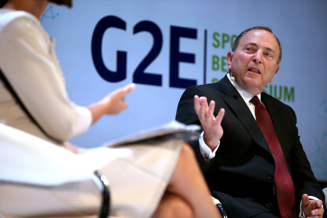 NHL commissioner Gary Bettman is interview by Contessa Brewer of CNBC Business News, on a sport ...