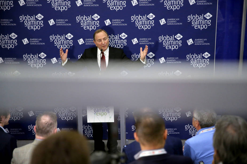 NHL commissioner Gary Bettman talks to the news media after a sports betting panel during the 2 ...
