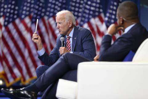 Democratic presidential candidate Joe Biden speaks during the 2020 presidential gun safety foru ...