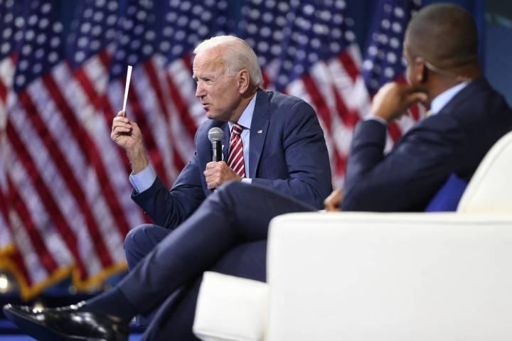 Democratic presidential candidate Joe Biden speaks during the 2020 presidential gun safety foru ...