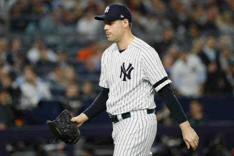 New York Yankees relief pitcher Adam Ottavino leaves the game during the seventh inning in Game ...