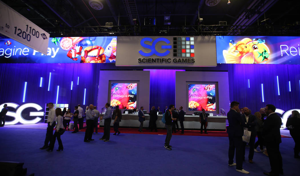 The Scientific Games Corp. booth at the 2019 Global Gaming Expo at the Sands Expo and Conventio ...